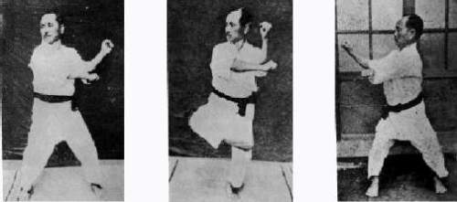 Vintage footage of Shotokan founder Gichin Funakoshi performing the moves of Naihanchi